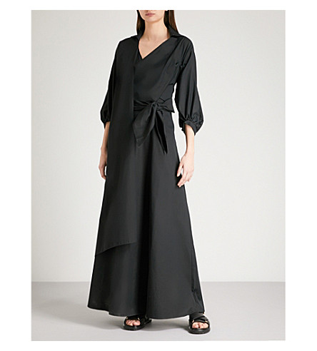 CHALAYAN Wrap-over linen-blend gown (Black