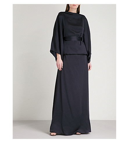 CHALAYAN Draped satin dress (Midnight
