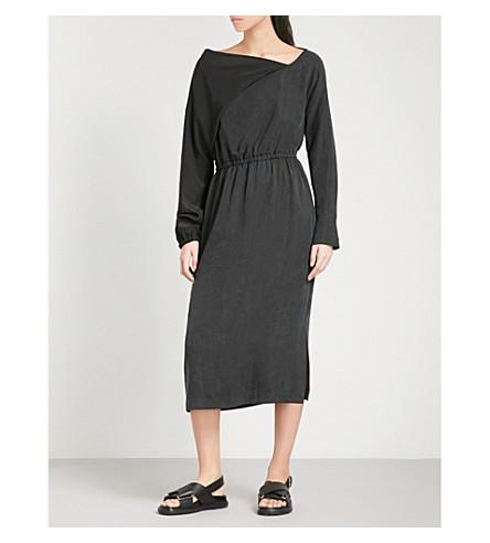 CHALAYAN Asymmetric-neck woven midi dress (Black