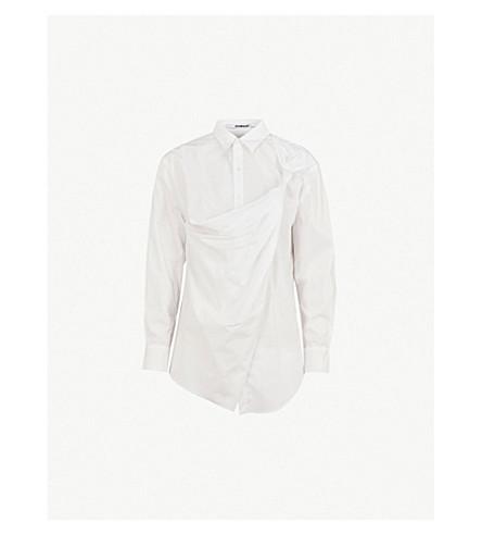 CHALAYAN Draped-panel cotton shirt (White