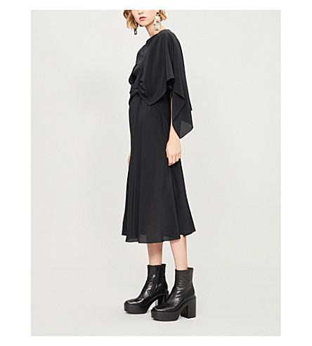 CHALAYAN Cape-panel silk dress (Black