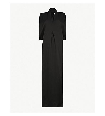 CHALAYAN Slash-neck satin gown (Black