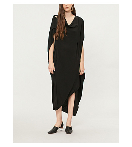 CHALAYAN Draped crepe midi dress (Black