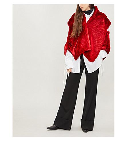 CHALAYAN Open shoulder faux-fur jacket (Red