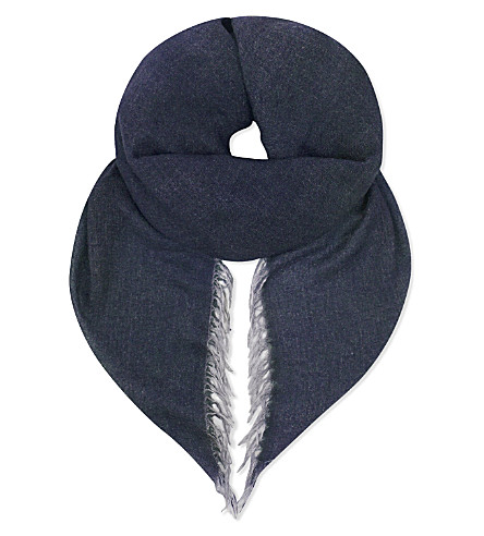 FALIERO SARTI Lorella cashmere and silk-blend scarf (Navy