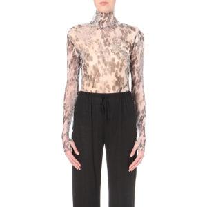 Floral-print silk body