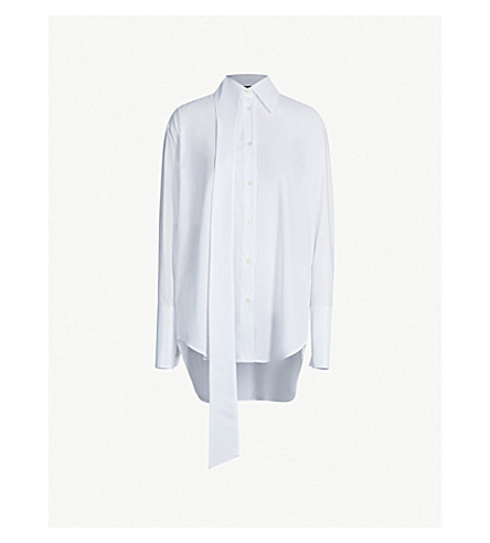 YANG LI Oversized asymmetric woven shirt (Off white
