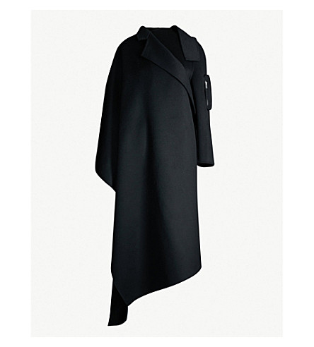 YANG LI Oversized asymmetric wool wrap coat (Black