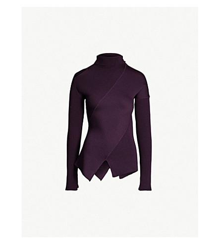YANG LI Cutout-panel ribbed wool turtleneck jumper (Dark purple