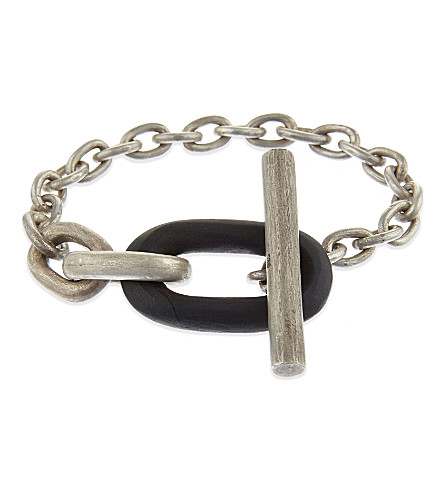 PARTS OF FOUR Single toggle acid-dipped sterling silver bracelet (Black wood dirty silver