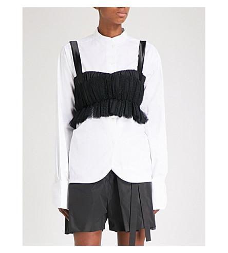PHOEBE ENGLISH Gathered mesh bra top (Black