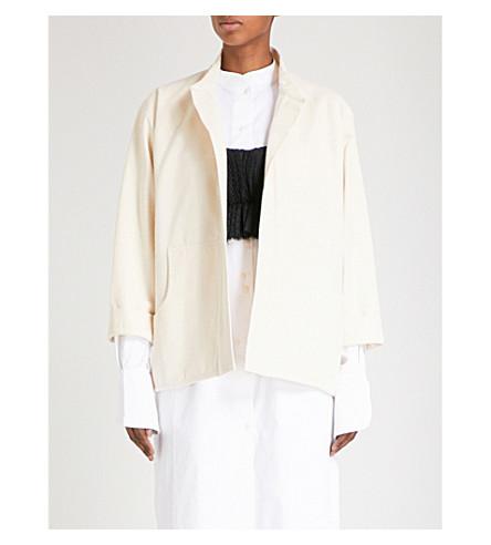 PHOEBE ENGLISH Mandarin-collar cotton-canvas jacket (Natural