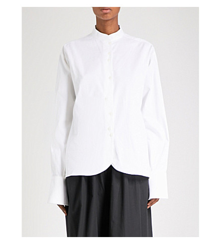 PHOEBE ENGLISH Oversized cotton-poplin shirt (White