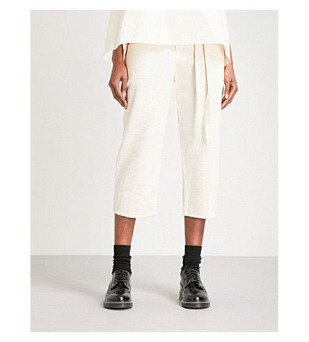 PHOEBE ENGLISH Wide cropped high-rise cotton-canvas trousers (Natural