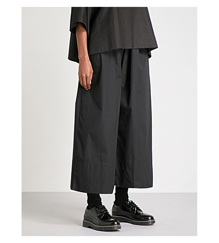 PHOEBE ENGLISH Wide cropped high-rise cotton-poplin trousers (Black