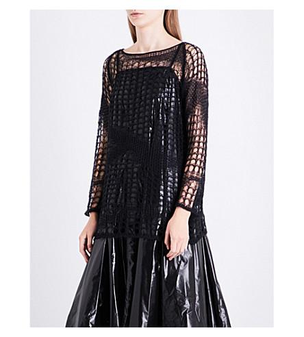 GARETH PUGH Open-knit mohair and merino wool-blend jumper (Black