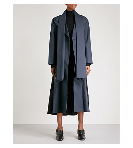 YULIA KONDRANINA Oversized double-breasted cotton-canvas coat (Dark+navy/black