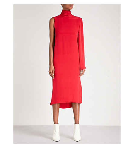YULIA KONDRANINA One-shoulder silk dress (Lipstick+red