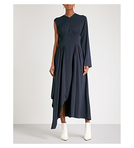 YULIA KONDRANINA One-shoulder crepe dress (Navy