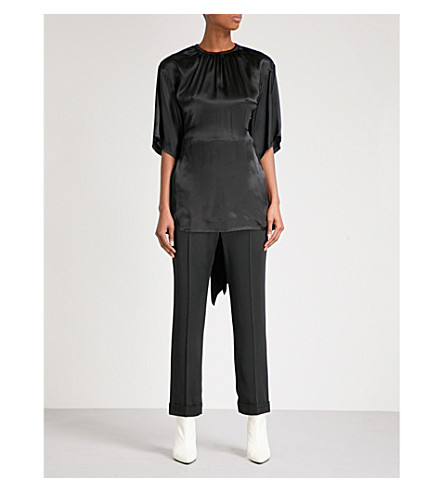YULIA KONDRANINA Open-back silk-blend top (Black