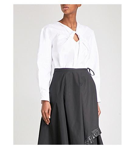 YULIA KONDRANINA Ring-detail cotton-poplin shirt (White