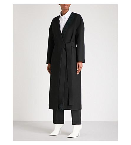 YULIA KONDRANINA Oversized wool and silk-blend wrap coat (Black