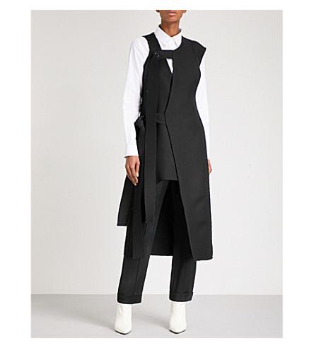 YULIA KONDRANINA Asymmetric wool midi dress (Black