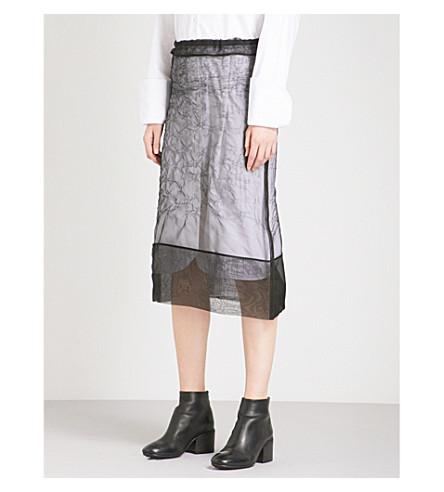 YULIA KONDRANINA Crinkled silk-organza skirt (Black
