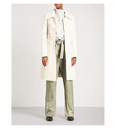 CHEREVICHKIOTVICHKI Paint-splattered leather coat (Cream+splatter