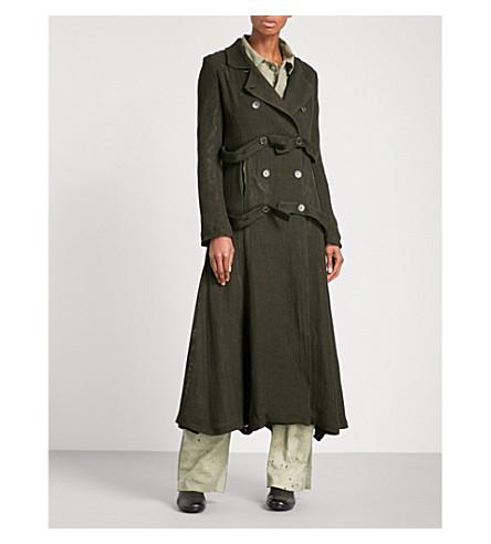 CHEREVICHKIOTVICHKI Flared double-breasted linen-mesh coat (Dark+olive