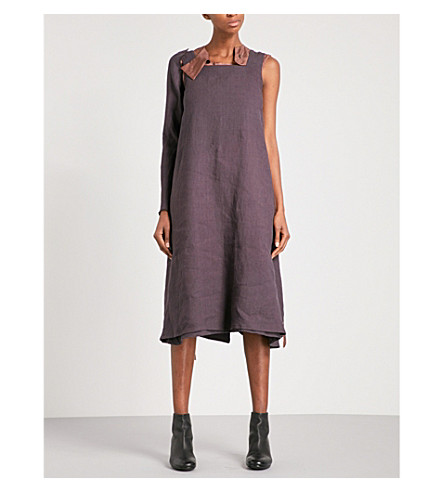 CHEREVICHKIOTVICHKI Sarafan removable-panel linen dress (Linen+purple
