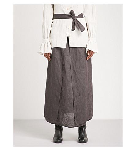 CHEREVICHKIOTVICHKI Self-tie striped high-rise linen skirt (Purple+black+stripe