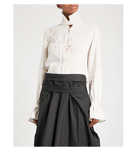 CHEREVICHKIOTVICHKI High neck heavy-linen shirt (Cream+splatter