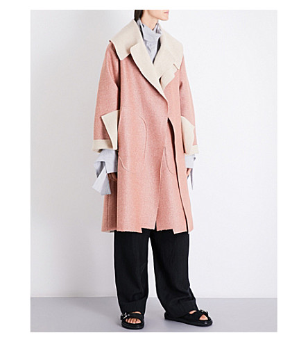DANIEL GREGORY NATALE Oversized herringbone wool coat (Pale+orange