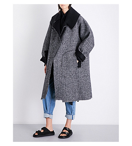 DANIEL GREGORY NATALE Oversized herringbone alpaca coat (Charcoal