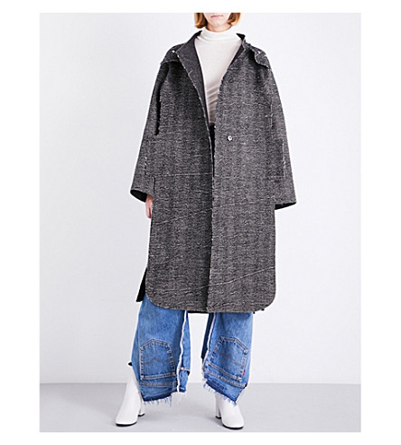 DANIEL GREGORY NATALE Oversized wool coat (Textured+brown