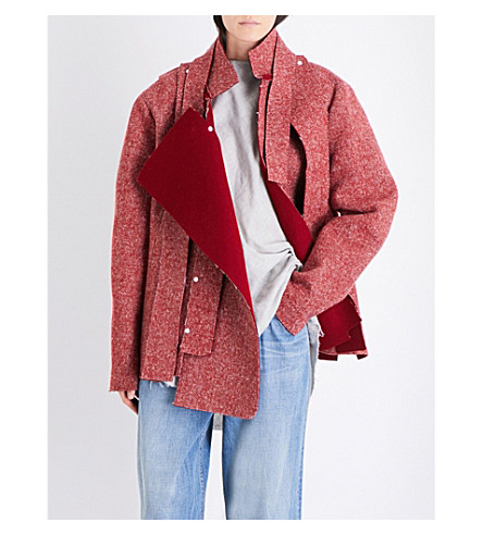 DANIEL GREGORY NATALE Oversized herringbone wool jacket (Deep+red
