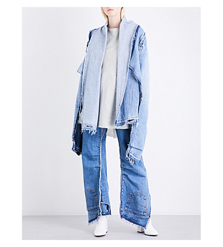 DANIEL GREGORY NATALE Reconstructed released-hem denim jacket (Indigo