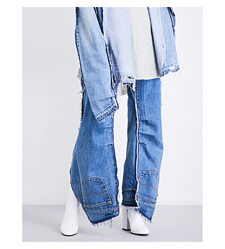 DANIEL GREGORY NATALE Reconstructed frayed high-rise jeans (Indigo