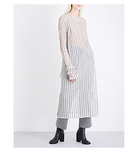 DANIEL GREGORY NATALE Longline corded striped cotton dress (Cream