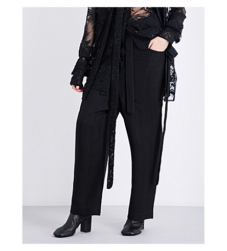 DANIEL GREGORY NATALE Herringbone-pattern dropped-crotch high-rise gabardine trousers (Black