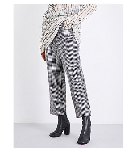 DANIEL GREGORY NATALE Houndstooth-pattern dropped-crotch high-rise cotton trousers (B/w+houndstooth
