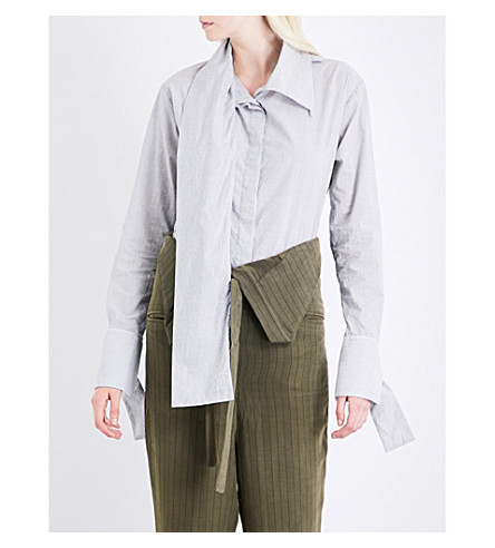DANIEL GREGORY NATALE Striped crushed-cotton shirt (Grey+striped
