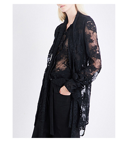 DANIEL GREGORY NATALE Oversized pussybow French floral-lace shirt (Black