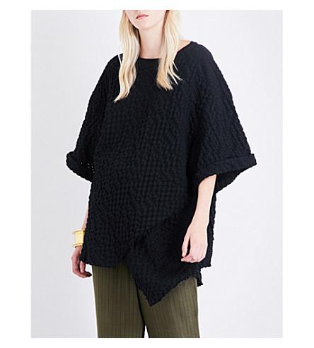 DANIEL GREGORY NATALE Oversized basketweave-cotton top (Black