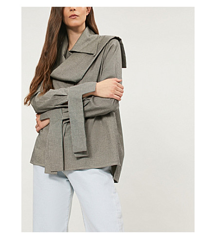 DANIEL GREGORY NATALE Wrap collar cotton shirt (Black/white