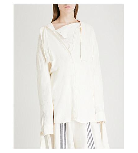 DANIEL GREGORY NATALE Tie-detail cotton-blend shirt (White