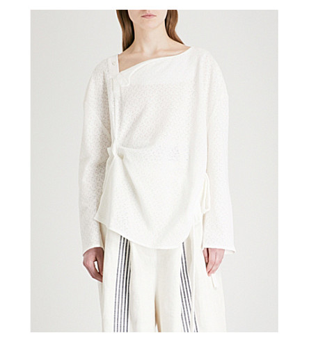 DANIEL GREGORY NATALE Asymmetric-neck cotton top (White