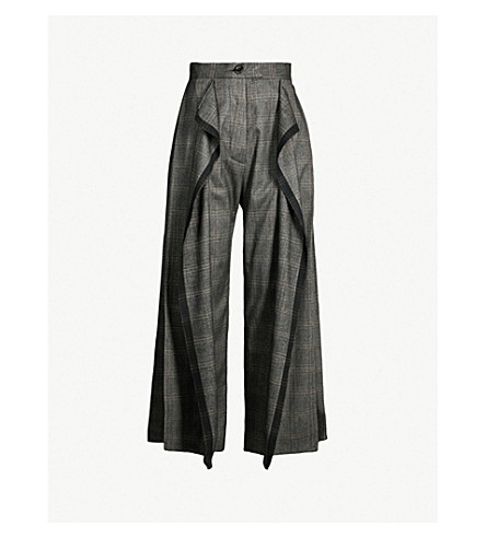 DANIEL GREGORY NATALE High-rise checked stretch-cotton wide-leg pants (Grey check