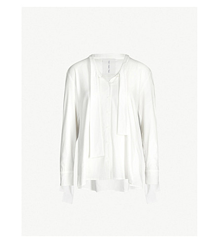 DANIEL GREGORY NATALE Tie-neck cotton and silk-blend shirt (White